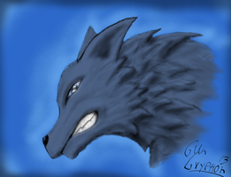 Blue Wolf -First Tablet Painting- by GunGryphon