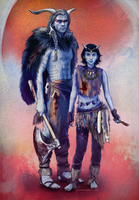 Jotun Thor and Kid Jotun Loki AU by umak00