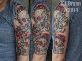 Healed Skull Half Sleeve Tattoo by danktat