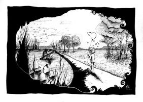 The Path We Follow - Black and White (SOLD) by Naomi89