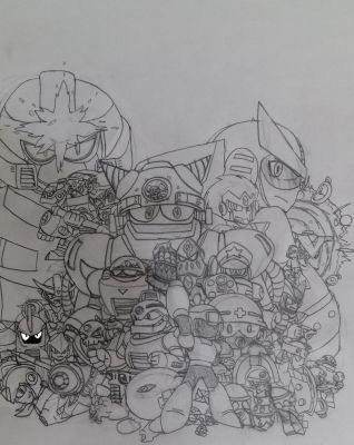 Mega Man 8-bit Deathmatch Cover art (sketch) by hansungkee