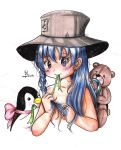 the girl blue hair and gray hat by selene-bunny