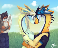 Hugs and Nose Bumps (commission) by Zraxi