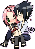 Commission : Sasuke+Sakura by p-inkapple