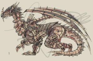 Elder Mechanical Dragon Design by haru-naru