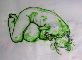 Green Curled life drawing by object000