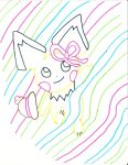 Ribbons Pichu in color lines by andres19989