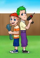 Phineas and Ferb - my style by kelly42fox
