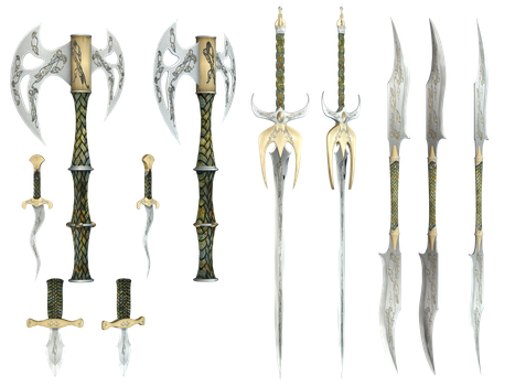 Mythical Weapons PNG Stock by Roy3D
