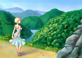 Girl and scenery by Kamiken1