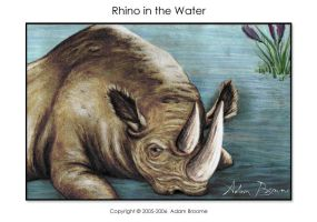 Rhino in the Water - Color by Adamb22