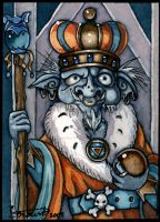 The goblin king on throne ACEO by candcfantasyart