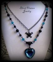 TAINTED LOVE Black Teal Goth Skull Heart Necklace by BloodFlowersJewelry