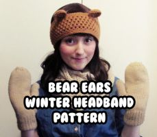 kawaii winter headband - bear ears - ear warmer by hellohappycrafts