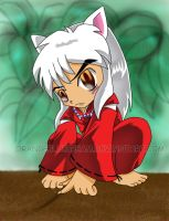 Inuyasha plays in the dirt by OrangeBlueCream