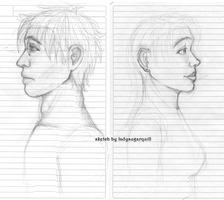 Realistic Harry and Ginny (sketch) by ladysugarquill