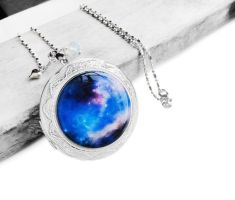 Blue Purple Cosmic Galaxy Resin Locket Necklace by crystaland