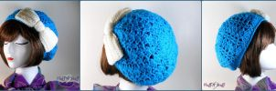 Blue Slouchy Hat with Oversized Bow by SailorMiniMuffin