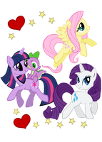 FlutterShy, Twilight, Rarity and Spike by Fluttershy1982