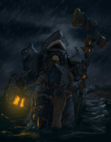 Chaos space marine shark sorcerer (color) by MyDeads