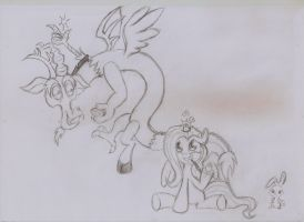 Discord and Fluttershy Easter by Piterq12