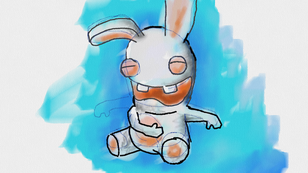 Laughing rabbid by twitte0king
