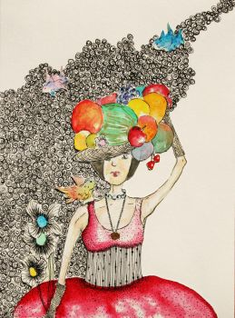 fruit hat girl with birds by kivicanavari