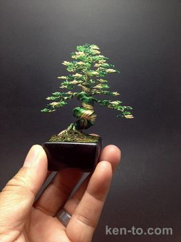 3-color green wire bonsai tree by Ken To by KenToArt