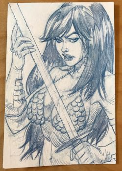 Red Sonja Sketch Card by hyperjack08