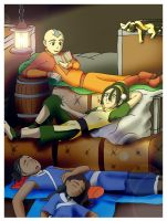 Reading to Toph by Bizmarck