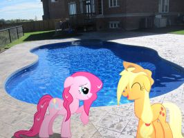 Wet Pinkie and Applejack at the Pool by HAchaosagent