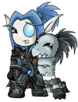 Death Knight Chibis- Blood Elf by RedPawDesigns