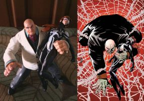 KO Spidergirl and Kingpin cover recreation by cuttlesquid