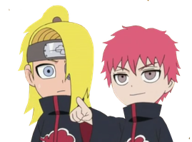 Naruto SD: Deidara And Sasori Render by wow1076