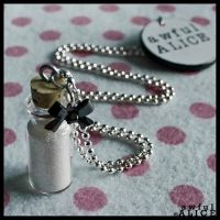 AWFUL ALICE 'Do Not Drink' Necklace in White by wickedland