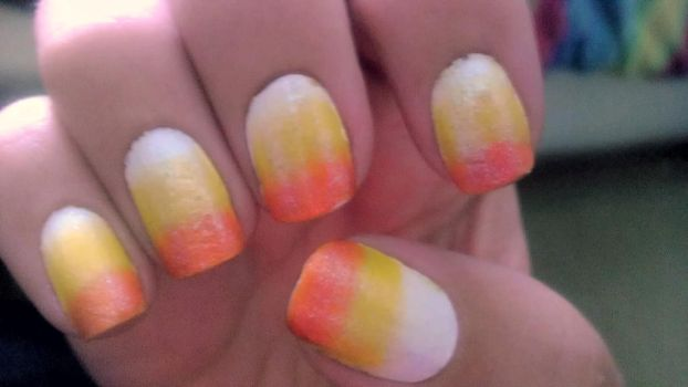Candy Corn Nails by wolfgirl4716