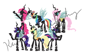 Changeling Mane Six by kaylathehedgehog
