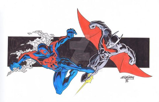 Spider-man 2099 and Batman Beyond by wjgrapes