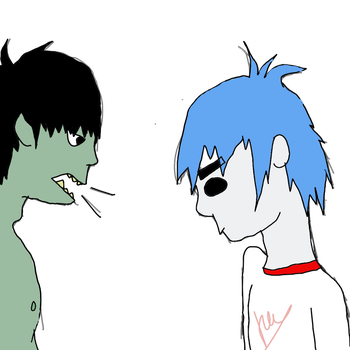 Murdoc and 2D by madhattter8