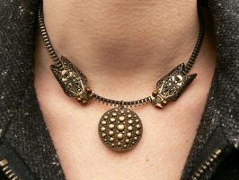Fall Of The Cicada-Steampunk Zipper Necklace by deathbysunset