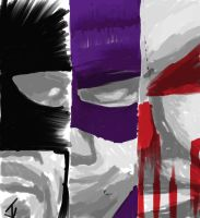 Big Daddy, Hit Girl Smiles and the Punisher by JohnYandall