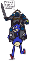 Thunderpsyker rides Sanic into battle by Captain-Asparagus