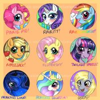 MLP-FiM Badges/Buttons by Chao-Illustrations