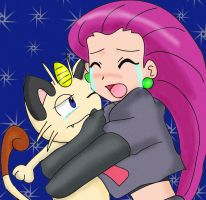 Jessie and Meowth cry by Jezrocket