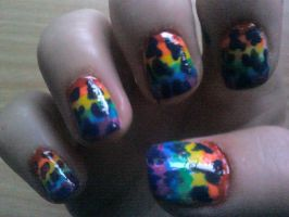 Rainbow With Blue Splodges Nail Design by Experimently-Bernsie