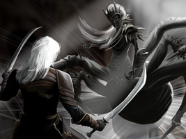 Drizzt v Lolth by SnToter