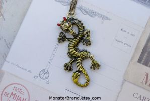 Green Chinese Dragon Necklace by foowahu-etsy