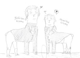 Sad llamas Jefferson Hamilton by hannz0rz