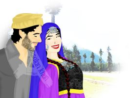 Traditional Pashtun Couple by ArsalanKhanArtist