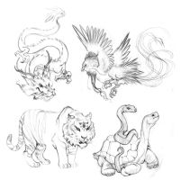 Chinese Element Animals sketch by RinTau